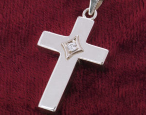 Sterling Silver Cross Urn Necklace with Birthstone