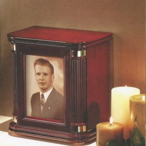 Picture Frame Wood Chest Urn