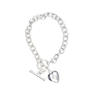 Sterling Silver Heart Urn Bracelet with Birthstone