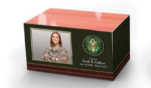 Custom Wood Urn Tribute, army