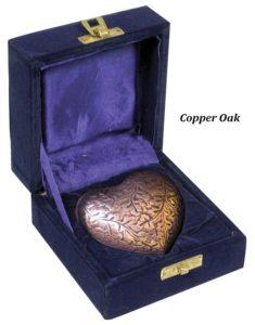 Keepsake Urn, Silver Oak Heart
