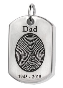 Dog Tag Fingerprint Necklace with Name and Dates