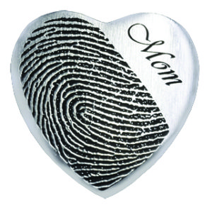 Fingerprint Heart Necklace with Engraving