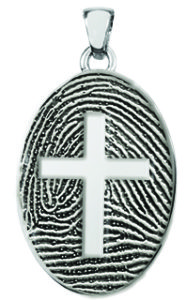Fingerprint Cross Necklace